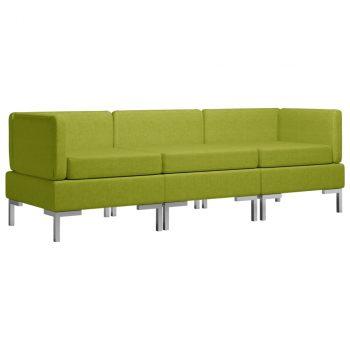 3-dijelni set sofa od tkanine zeleni