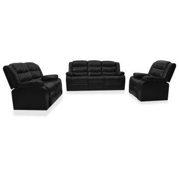 3-dijelni set sofa od umjetne kože crni