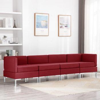 4-dijelni set sofa od tkanine crvena boja vina