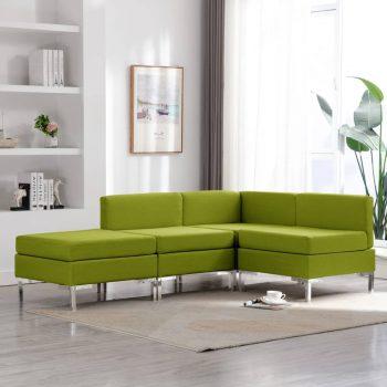 4-dijelni set sofa od tkanine zeleni
