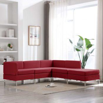 5-dijelni set sofa od tkanine crvena boja vina