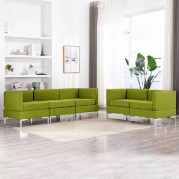 5-dijelni set sofa od tkanine zeleni