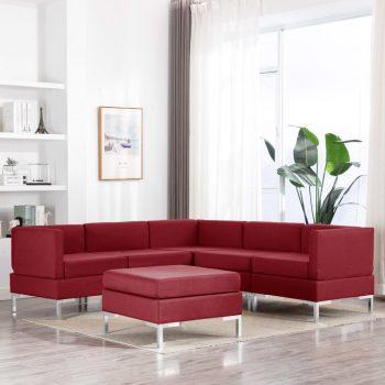 6-dijelni set sofa od tkanine crvena boja vina
