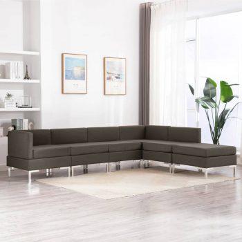 6-dijelni set sofa od tkanine smeđe-sivi