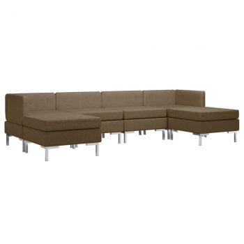 6-dijelni set sofa od tkanine smeđi