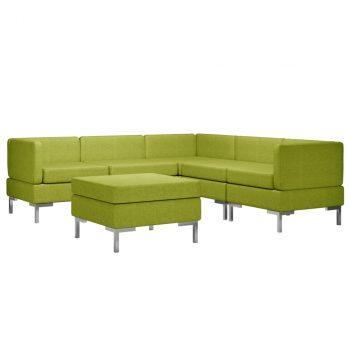 6-dijelni set sofa od tkanine zeleni