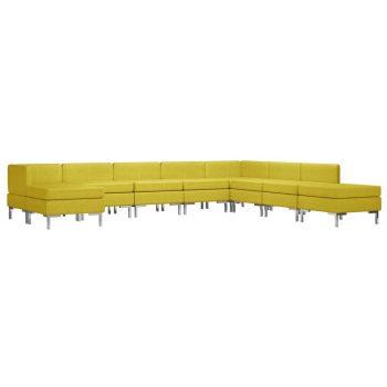 9-dijelni set sofa od tkanine žuti