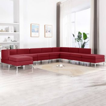 9-dijelni set sofa od tkanine crvena boja vina