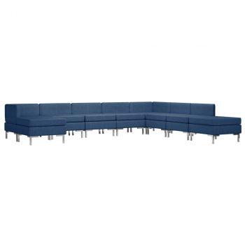 9-dijelni set sofa od tkanine plavi