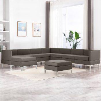 9-dijelni set sofa od tkanine smeđe-sivi