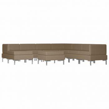9-dijelni set sofa od tkanine smeđi