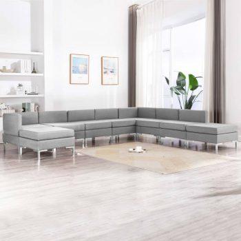 9-dijelni set sofa od tkanine svjetlosivi