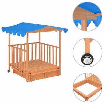 Dječja kućica za igru od jelovine s pješčanikom plava UV50
