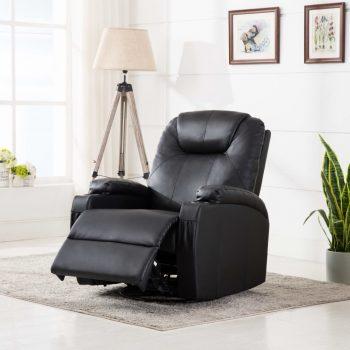 Električna ljuljajuća fotelja za masažu od umjetne kože crni