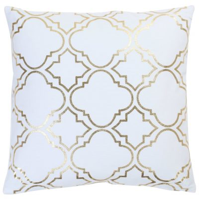 Jastuci s tiskanom folijom 2 kom bijelo-zlatni 40x40 cm pamučni