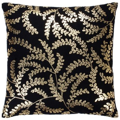 Jastuci s tiskanom folijom 2 kom crno-zlatni 40 x 40 cm pamučni