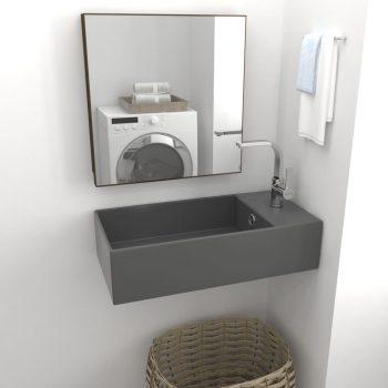 Kupaonski zidni umivaonik keramički tamnosivi