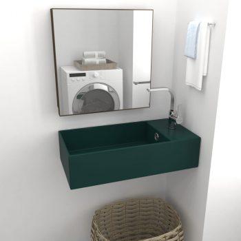 Kupaonski zidni umivaonik keramički tamnozeleni
