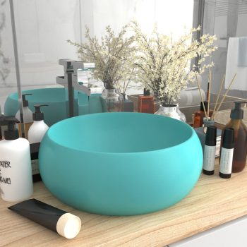 Luksuzni okrugli umivaonik mat svjetlozeleni 40x15 cm keramički