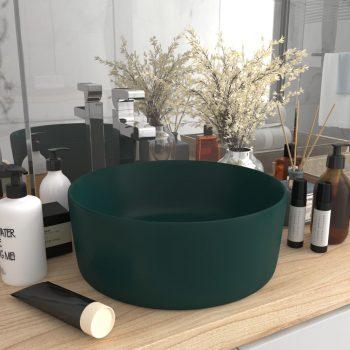 Luksuzni okrugli umivaonik mat tamnozeleni 40 x 15 cm keramički