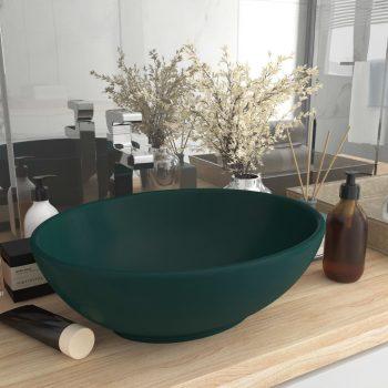 Luksuzni ovalni umivaonik mat tamnozeleni 40 x 33 cm keramički