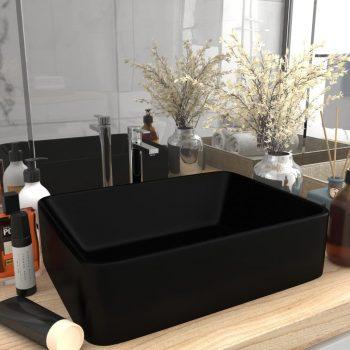 Luksuzni umivaonik mat crni 41 x 30 x 12 cm keramički