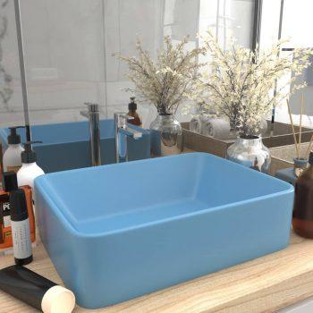 Luksuzni umivaonik mat svjetloplavi 41 x 30 x 12 cm keramički