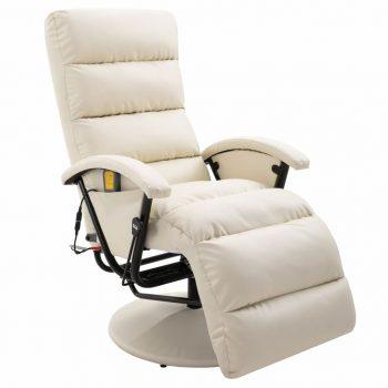 Masažna TV fotelja od umjetne kože krem-bijela