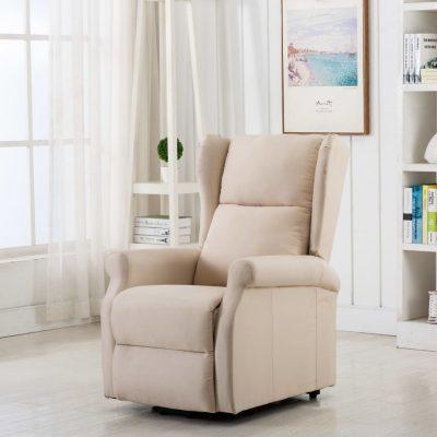 Masažna fotelja na podizanje od tkanine krem