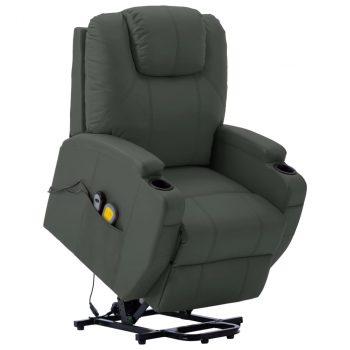 Masažna fotelja na podizanje od umjetne kože antracit