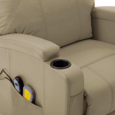 Masažna fotelja na podizanje od umjetne kože boja cappuccina