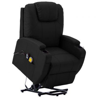 Masažna fotelja na podizanje od umjetne kože crna