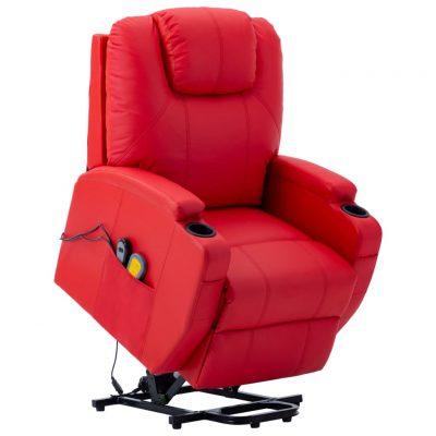 Masažna fotelja na podizanje od umjetne kože crvena