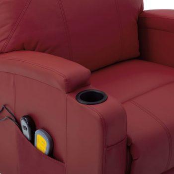 Masažna fotelja na podizanje od umjetne kože crvena boja vina