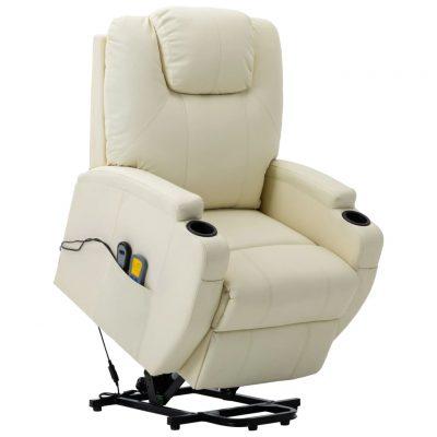Masažna fotelja na podizanje od umjetne kože krem-bijela