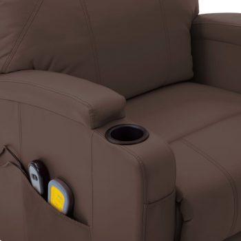 Masažna fotelja na podizanje od umjetne kože smeđa