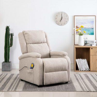 Masažna fotelja od tkanine krem