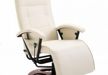 Masažna fotelja od umjetne kože bijela