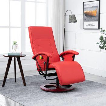 Masažna fotelja od umjetne kože crvena
