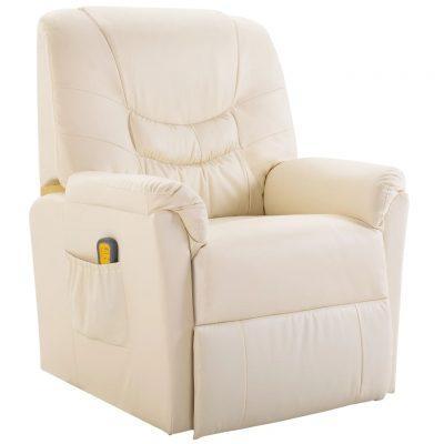 Masažna fotelja od umjetne kože krem