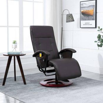Masažna fotelja od umjetne kože smeđa