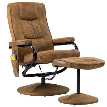 Masažna fotelja s osloncem od umjetne brušene kože smeđa