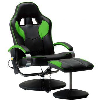 Masažna stolica s osloncem od umjetne kože zelena