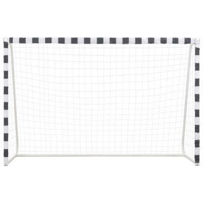 Nogometni gol 300 x 200 x 90 cm metalni crno-bijeli