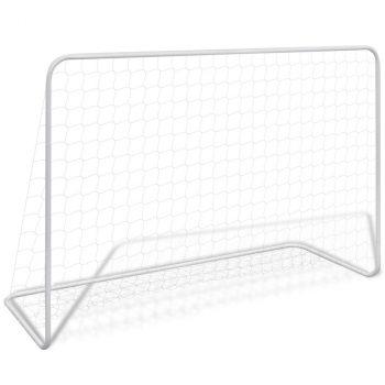 Nogometni gol s mrežom 182x61x122 cm čelični bijeli