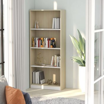 Ormarić za knjige 4 razine bijeli i hrast 60x24x142 cm iverica