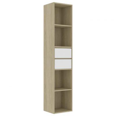 Ormarić za knjige bijeli i boja hrasta 36 x 30 x 171 cm iverica
