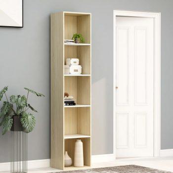 Ormarić za knjige bijeli i boja hrasta 40 x 30 x 189 cm iverica