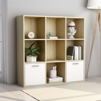 Ormarić za knjige bijeli i boja hrasta 98 x 30 x 98 cm iverica