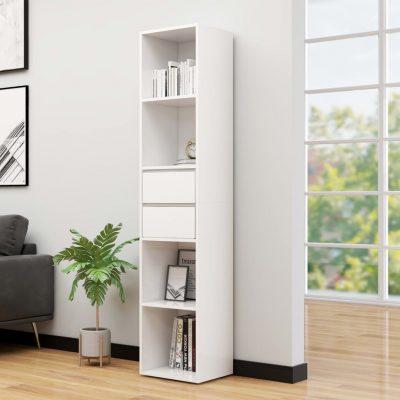 Ormarić za knjige visoki sjaj bijeli 36 x 30 x 171 cm iverica